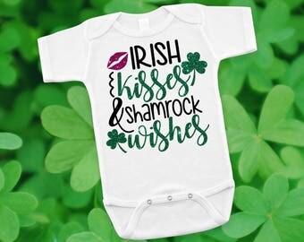 Irish Kisses Shamrock Wishes Newborn Baby Infant Bodysuit Creeper Toddler T Shirt Tee Funny Baby Shower Gift Idea Present St. Patrick's Day