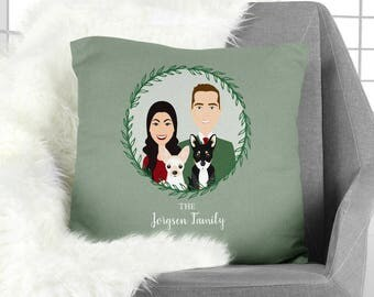 Family Portrait Pillow / Christmas Portrait, Couple, Green Pillow, Family Portrait, Cat, Dog, Pet Portrait ▷ Pillowcase {or} Stuffed Pillow