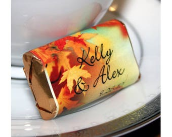Personalized Fall Chocolate Wrappers- Nugget Wrappers - Nugget Candy Stickers - Miniature Candy Wrappers - Autumn Favors - Fall Favors