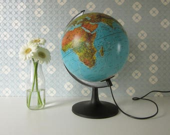 Vintage Globe with Light made in Danmark 80s 17136
