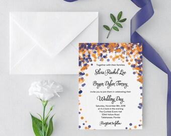 Confetti Wedding Invitation, Blue Confetti Wedding Invitation, orange, response card, orange, navy wedding, bright, dots, bokeh invitations