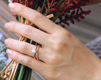 1.55 ct.tw Bridal Set-Brilliant Cut Solitaire Engagement Ring W/ All  or Half Eternity Band-Rose Gold Plated-Sterling Silver [61333RG-2A]