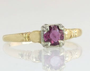 Antique 14K Gold .39ct Genuine Ruby Art Deco Engagement Ring 2g