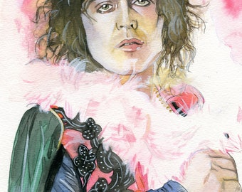 8.5x11 WATERCOLOR painting PRINT of Marc Bolan from T. Rex!