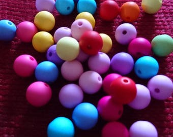 Set of 40 beads acrylic RAINBOW 10mm in diameter