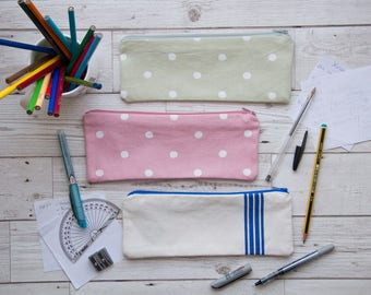 Pink and Green Spot / Vintage Blue Striped Cotton Pencil/Make-Up Brush Cases