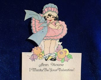 1920's Art Nouveau Valentine Little Girl in Cloche Hat