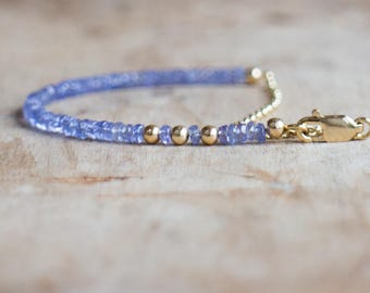 Tanzanite Bracelet in Silver or Gold, December Birthstone, Genuine Gemstone Jewelry, Gemstone Stacking Bracelet, Tanzanite Jewellery