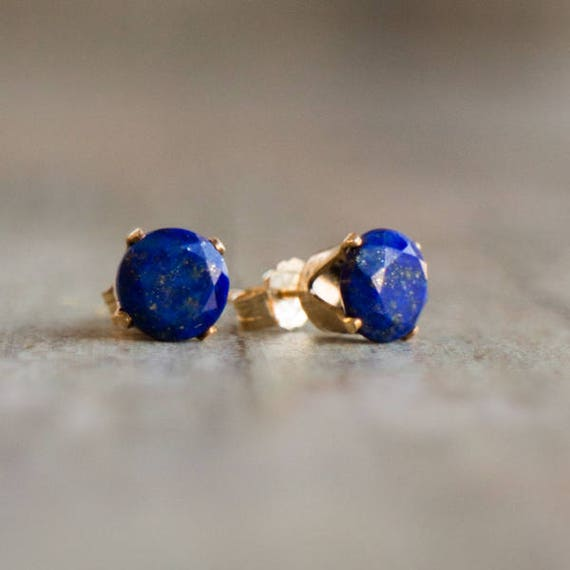 Lapis Lazuli Stud Earrings - September Birthstone