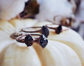 Tibetan quartz ring · black herkimer diamond ring · crystal stacking ring · raw crystal ring · copper electroformed ring · raw mineral ring