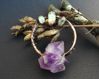 copper amethyst cluster pendant glass drop