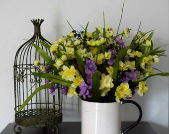 Rustic Floral Arrangement | Purple and Yellow Floral Arrangement | Farmhouse Decor | Cottage Decor | French Country Decor