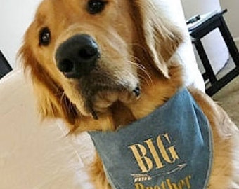 Big Brother Big Sister Dog Bandana. Chambray or Indigo denim with arrow monogram. Pregnancy announcements can include your pet. Name on back