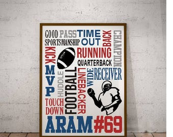 Football word collage print art with name jersey number  / or digital design SVG PNG EPS