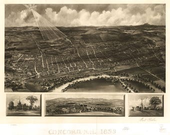 Concord NH Panoramic Map dated 1899. This print is a wonderful wall decoration for Den, Office, Man Cave or any wall.