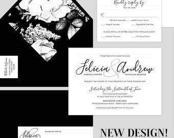 Black And White Wedding Invitations Floral Elegant