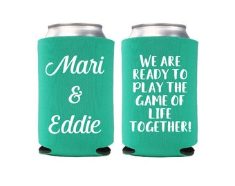 12+ Game of Life Can Coolers, Wedding Favors, Bride and Groom, Destination Wedding, Wedding Can Coolers, Beverage Insulator