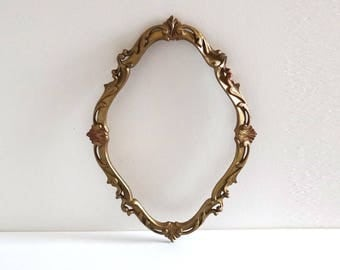 Vintage Oval Golden Baroque Frame Made in Italy