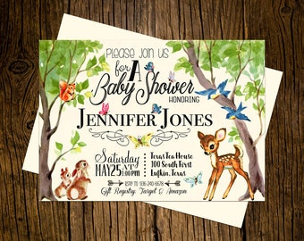 Woodland Baby Shower Invitations Personalized Custom Printed Set of 12 Party Invites Forrest Animals Baby Deer Vintage Ecru