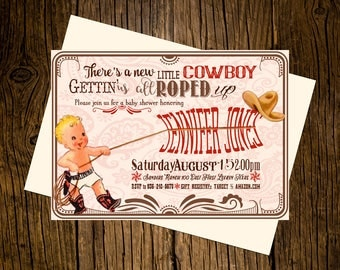 Cowboy Western Baby Shower Invitations Personalized Custom Printed Set of 12 Party Invites Vintage Ecru Rustic Red Paisley Rope Hat Boots