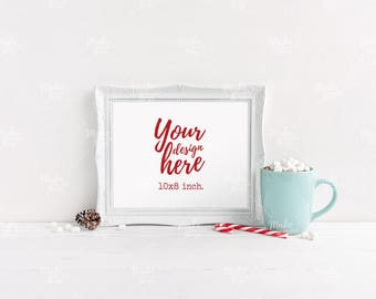 10x8 Christmas styled frame / Styled stock photography / Instant download / landscape frame mockup / #5253