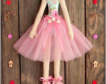 ballerina doll fabric doll-Cloth doll rag doll-stuffed doll softie soft doll- handmade doll ballerina in peach tutu