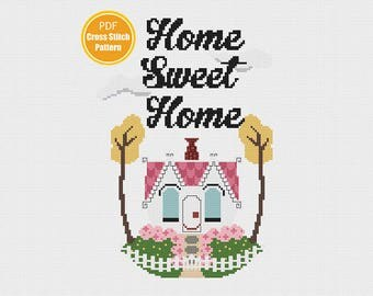Home Sweet Home cross stitch - Mary Blair Little House - PDF Instant download - Cross-stitch pattern