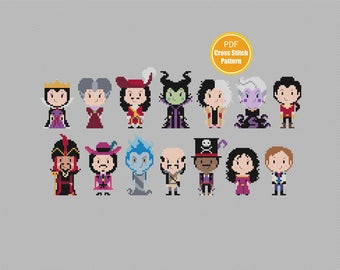 Disney Villains Cross stitch Pattern -  PDF file Instant Download - Maleficent - Ursula - Captain Hook - Jafar - Disney Cross stitch