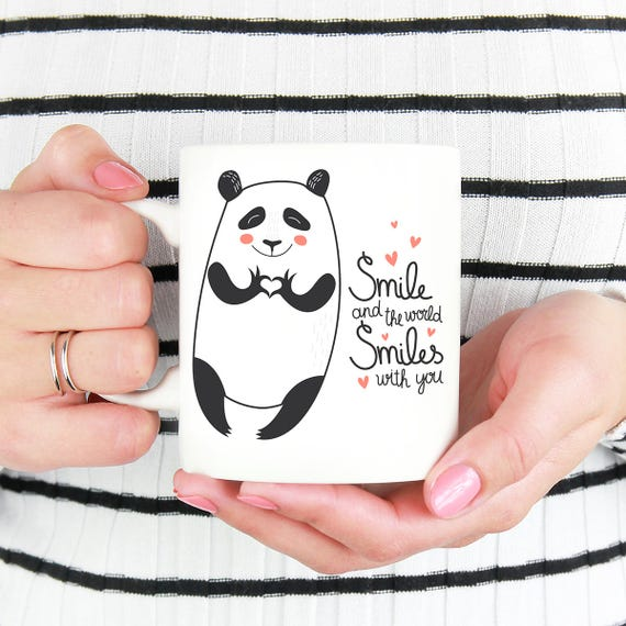 Panda Bear Coffee Mug - Smile and the World Smiles With You Panda Bear with Heart Hands Mug