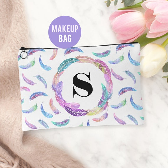 Makeup Bag - Personalized Feathers Cosmetics Bag - Accessories Bag Available in 2 sizes