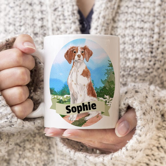 Brittany Spaniel Custom Dog Mug - Get your dogs name on a mug - Dog Breed Mug - Great gift for dog owner - Brittany Spaniel mug