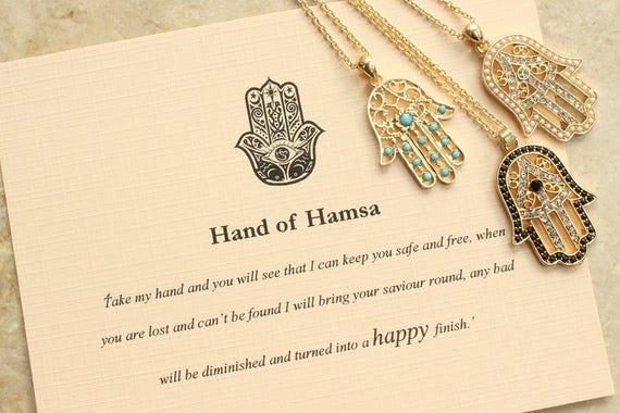 Hand Of Hamsa Necklace Hand Of Fatima Necklace Meaningful