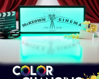 Movie Theater Decor, Home Theater, Movie Room Decor, Personalized Theater Sign, Movie Theater Sign, Theater Sign, Light Up Sign