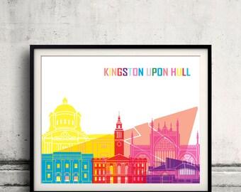 Kingston Upon Hull skyline pop - Fine Art Print Glicee Poster Gift Illustration Pop Art Colorful Landmarks - SKU 2419