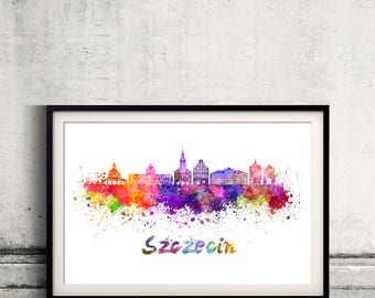 Szczecin skyline in watercolor over white background with name of city - Poster Wall art Illustration Print - SKU 2805