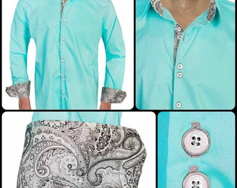 Teal with Black Men's Designer Dress Shirt - Made To Order in USA