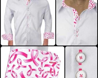 Gray Breast Cancer Accent Dress Shirt - American Made Designer Dress Shirts