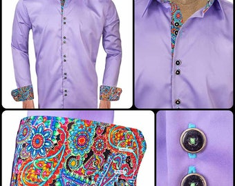 Light Purple with Paisley Designer Dress Shirts - Made To Order in USA
