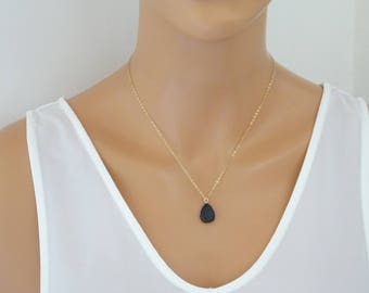 Lava Diffuser Necklace, 14 kt Gold fill Essential Oil Diffuser, Teardrop Lava Necklace, Aromatherapy Jewelry, Dainty necklace