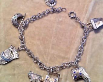 Silver Madiera Charm Bracelet