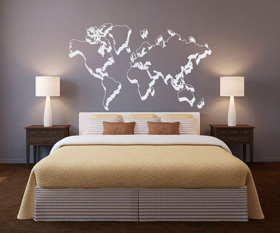 World map outlines wall decal world map wall decor outline like this item gumiabroncs Image collections