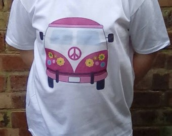 Kid's Shirt, Hippy Child, Flower Child, Peace, Hippy Clothing, Kid's Clothing, Pink Hippy Van, Love Bus