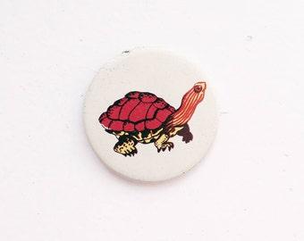 Vintage 4 cm 1.57'' animal marine sea turtle tortoise mammal cute pin brooch badge token clasp pinion tin aluminum cordon band medallion