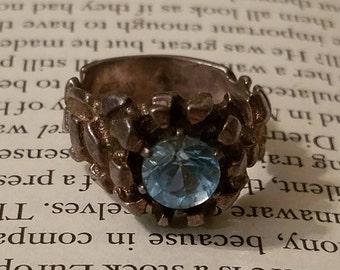 Men's Sterling Silver Aquamarine Ring