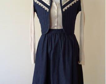 Gunne Sax dress, XS, S, Gunne sax skirt, Gunne Sax vest, Gunne Sax top, vintage denim, 70's denim, vintage 70s dress