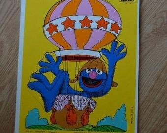 Vintage Playskool Sesame Street Grover in Hot Air Balloon Wood Tray Puzzle 315-21