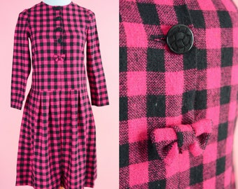 60s Pink Gingham Dress // Vintage Pink and Black, Plaid, Wool Dress, Women Size Small