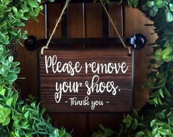 Please remove Shoes Sign    Remove Shoes Sign   No Shoes Door Signs   5x8   Door Hanger   Front Door   Remove Shoes Door Sign   welcome sign