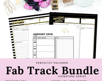 Girl Boss Printable Planner Lady Boss Babe Weekly Planner Daily Monthly Calendar  Meeting Notes 2018 | PFAB-1400-A, Instant Download
