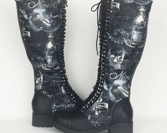 Nevermore shoes, Gothic boots, goth shoes, long autumn boot, Halloween, women boots, alternative, goth clothing, skull shoes, crow, raven